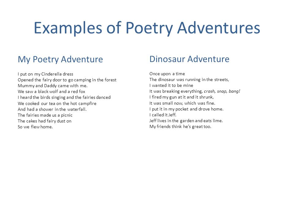 Examples of Poetry Adventures My Poetry Adventure I put on my Cinderella dress Opened the fairy door to go camping in the forest Mummy and Daddy came with me.
