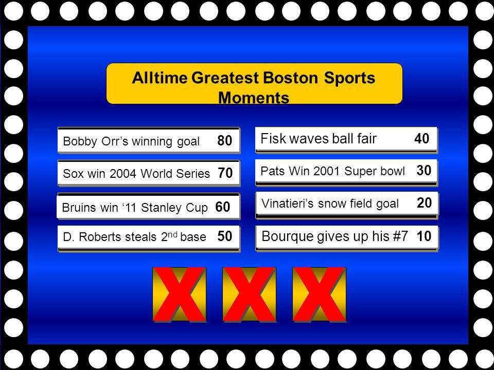 DINOSAUR43 FOSSIL21 SHELLS12 JARASSIC13 EONS5 PERIOD3 SEDIMENT2 5) X X X X X X 4) X X X X X X 3) X X X X X X 2) X X X X X X 1) X X X X X X 8) X X X X X X 7) X X X X X X 6) X X X X X X Bobby Orr's winning goal 80 Sox win 2004 World Series 70 Bruins win '11 Stanley Cup 60 D.