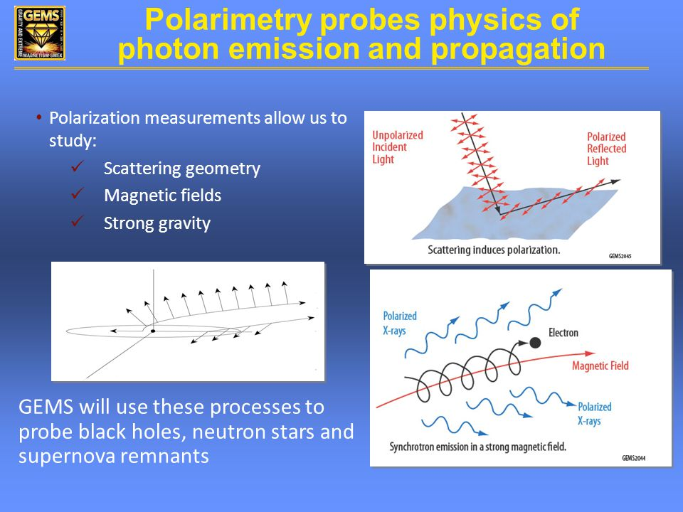 Polarization measurements allow us to study: Scattering geometry Magnetic fields Strong gravity GEMS will use these processes to probe black holes, neutron stars and supernova remnants Polarimetry probes physics of photon emission and propagation