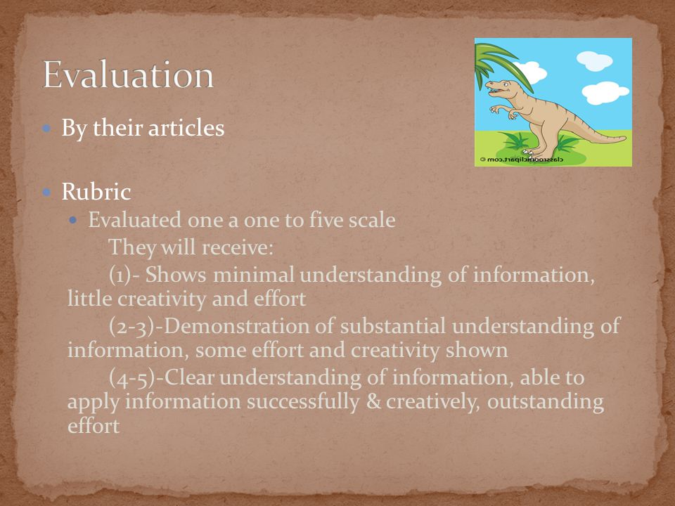By their articles Rubric Evaluated one a one to five scale They will receive: (1)- Shows minimal understanding of information, little creativity and effort (2-3)-Demonstration of substantial understanding of information, some effort and creativity shown (4-5)-Clear understanding of information, able to apply information successfully & creatively, outstanding effort