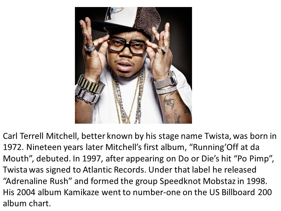 """Carl Terrell Mitchell, better known by his stage name Twista, was born in 1972. Nineteen years later Mitchell's first album, """"Running'Off at da Mouth"""""""