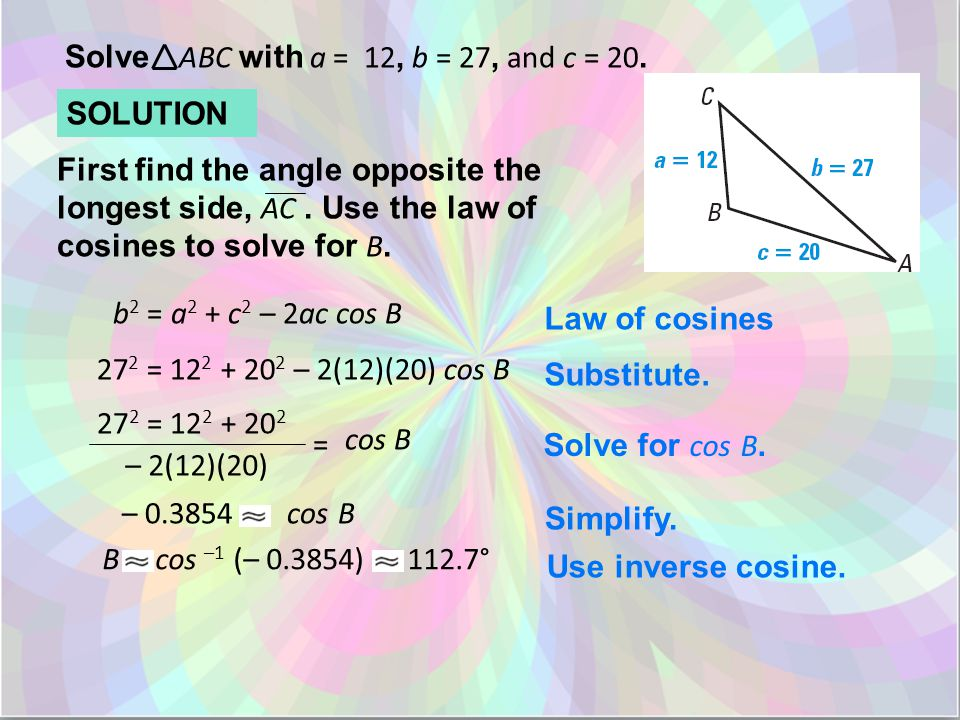 Solve ABC with a = 12, b = 27, and c = 20.