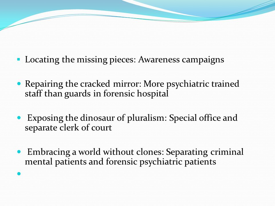  Locating the missing pieces: Awareness campaigns Repairing the cracked mirror: More psychiatric trained staff than guards in forensic hospital Exposing the dinosaur of pluralism: Special office and separate clerk of court Embracing a world without clones: Separating criminal mental patients and forensic psychiatric patients
