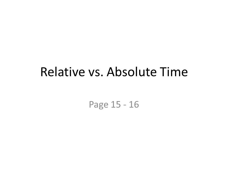 Relative vs. Absolute Time Page 15 - 16