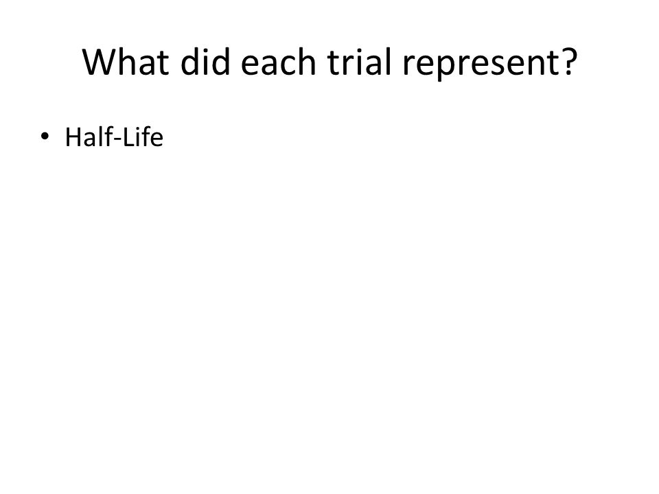 What did each trial represent Half-Life