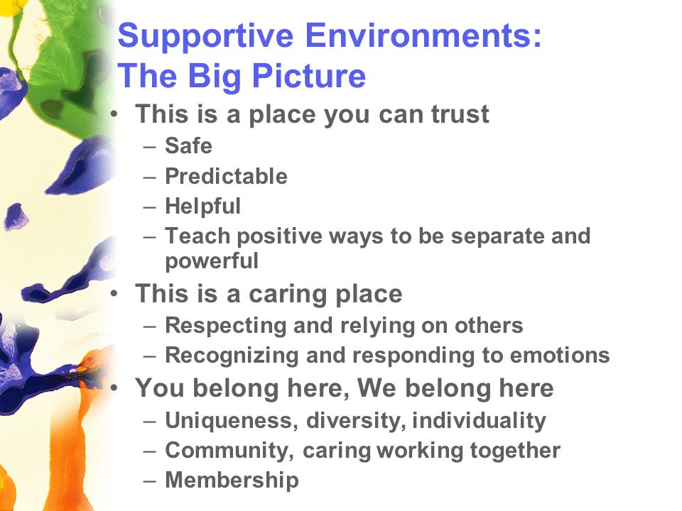 Supportive Environments: The Big Picture This is a place you can trust –Safe –Predictable –Helpful –Teach positive ways to be separate and powerful This is a caring place –Respecting and relying on others –Recognizing and responding to emotions You belong here, We belong here –Uniqueness, diversity, individuality –Community, caring working together –Membership