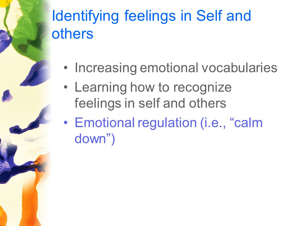 Identifying feelings in Self and others Increasing emotional vocabularies Learning how to recognize feelings in self and others Emotional regulation (i.e., calm down )