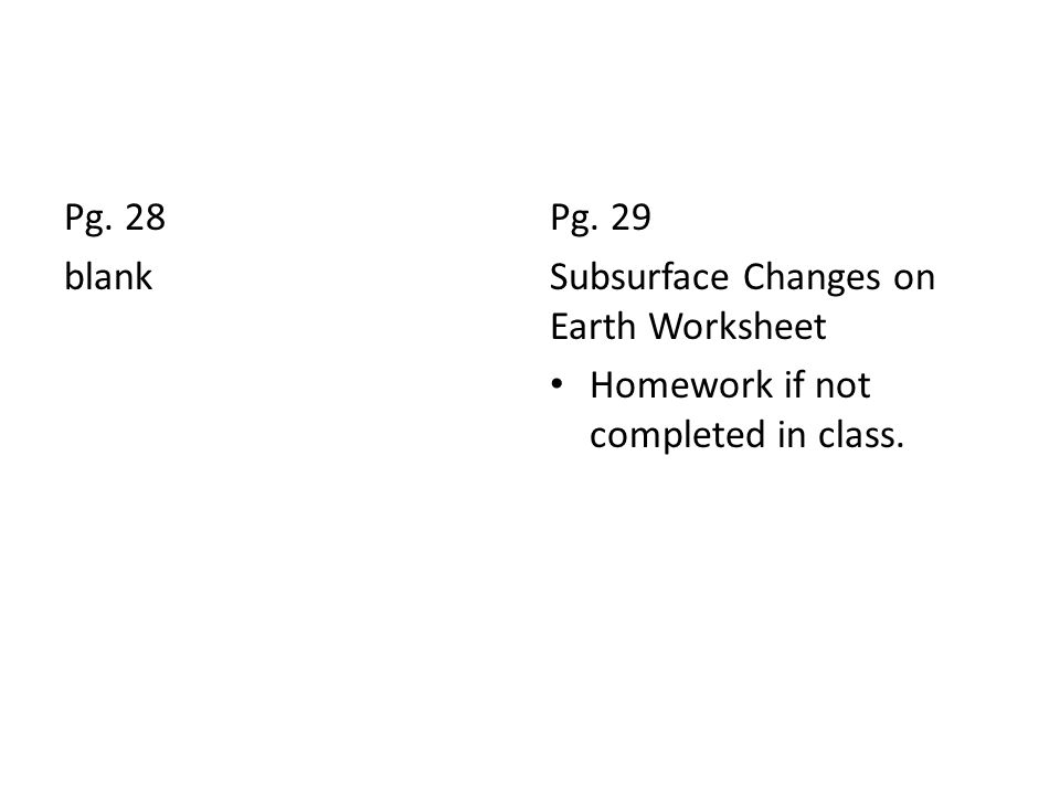 Pg. 28 blank Pg. 29 Subsurface Changes on Earth Worksheet Homework if not completed in class.
