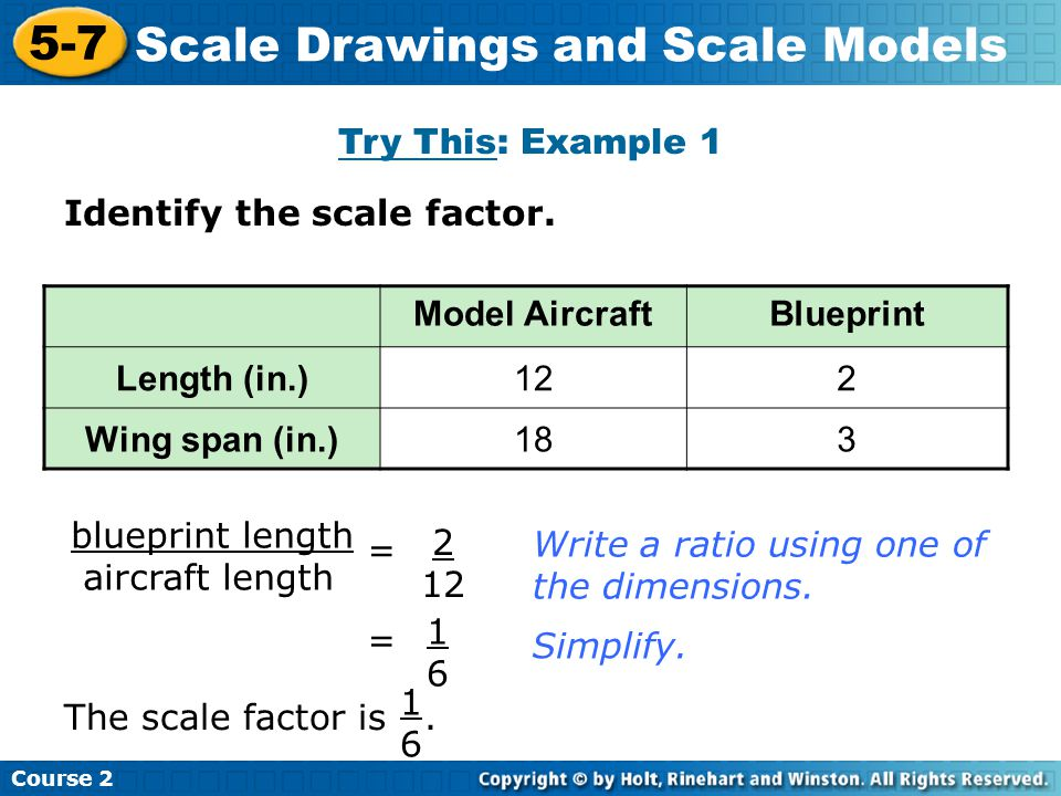 Try This: Example 1 Insert Lesson Title Here Course 2 5-7 Scale Drawings and Scale Models Identify the scale factor.