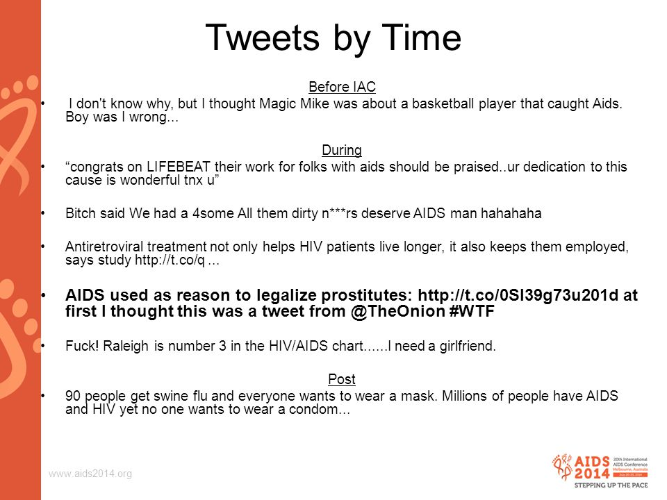 www.aids2014.org Tweets by Time Before IAC I don t know why, but I thought Magic Mike was about a basketball player that caught Aids.