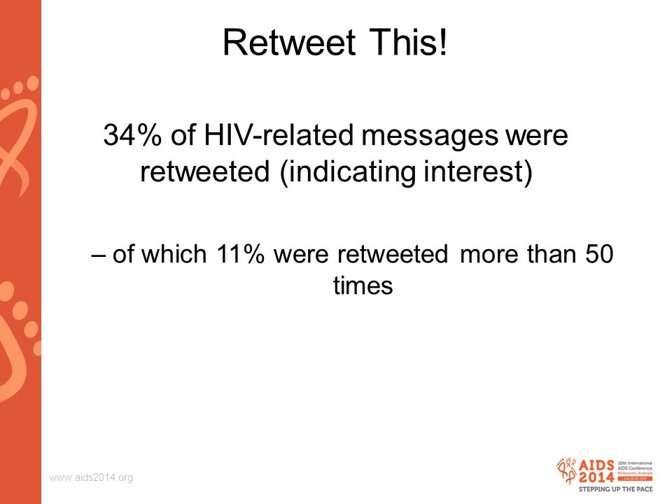 www.aids2014.org Retweet This! 34% of HIV-related messages were retweeted (indicating interest) –of which 11% were retweeted more than 50 times