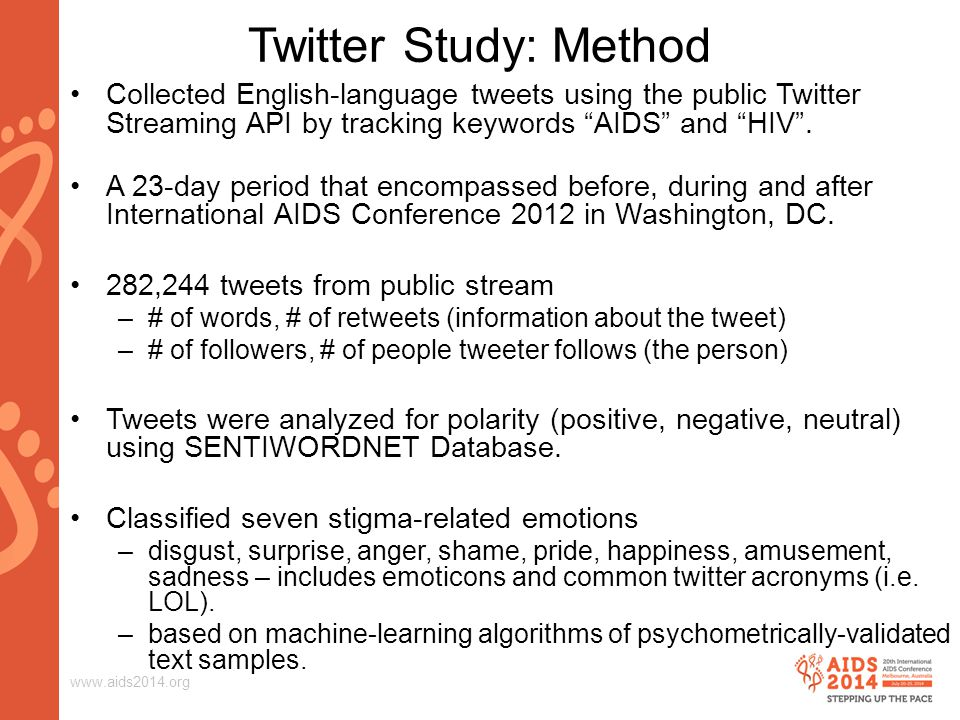 www.aids2014.org Twitter Study: Method Collected English-language tweets using the public Twitter Streaming API by tracking keywords AIDS and HIV .