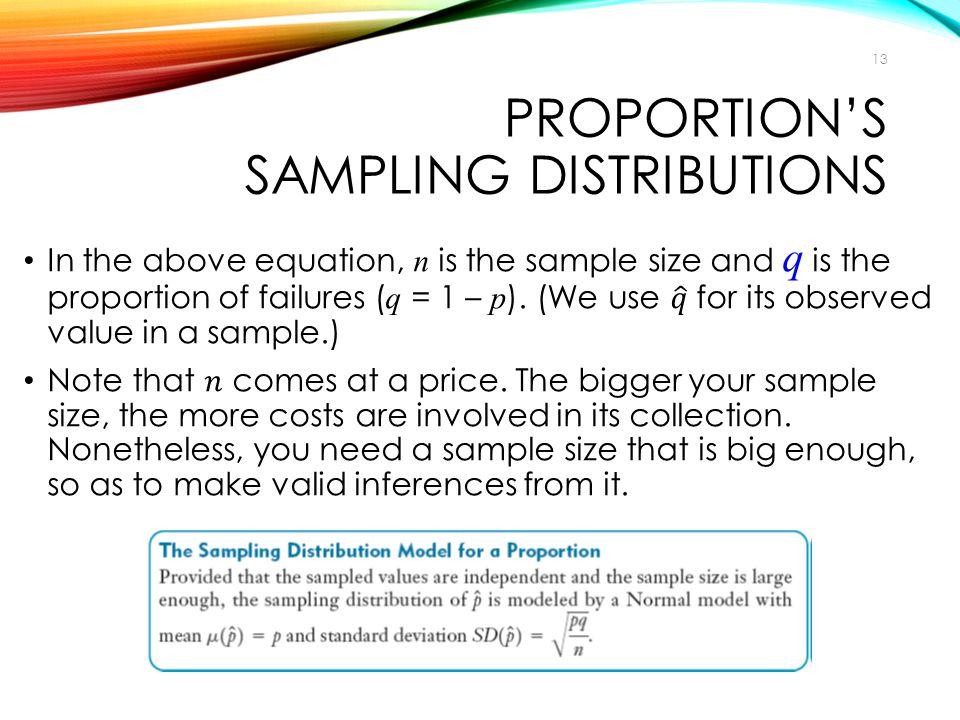 PROPORTION'S SAMPLING DISTRIBUTIONS 13