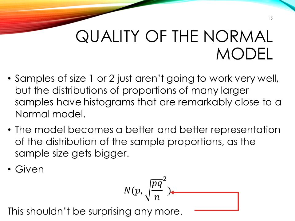 QUALITY OF THE NORMAL MODEL 15