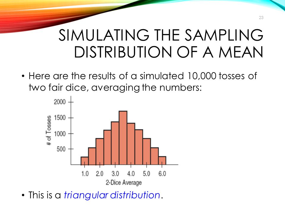 Here are the results of a simulated 10,000 tosses of two fair dice, averaging the numbers: This is a triangular distribution. SIMULATING THE SAMPLING