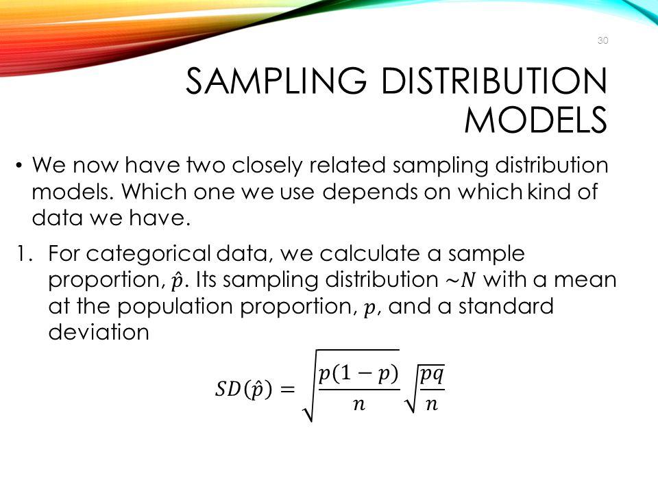 SAMPLING DISTRIBUTION MODELS 30