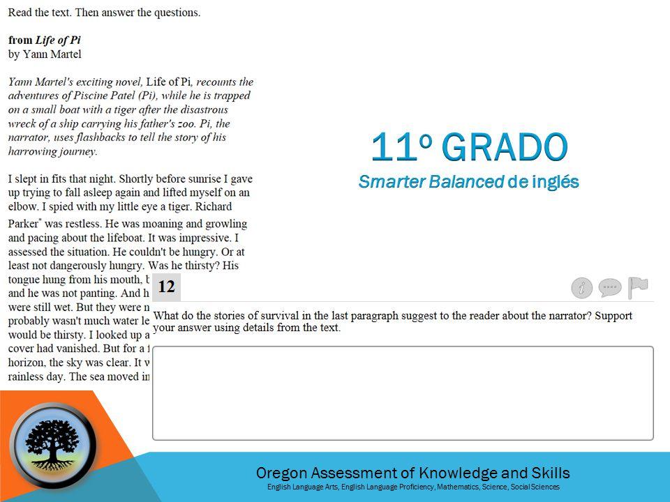 Oregon Assessment of Knowledge and Skills English Language Arts, English Language Proficiency, Mathematics, Science, Social Sciences 8º Grado Tarea de Rendimiento SMARTER BALANCED de Matemáticas