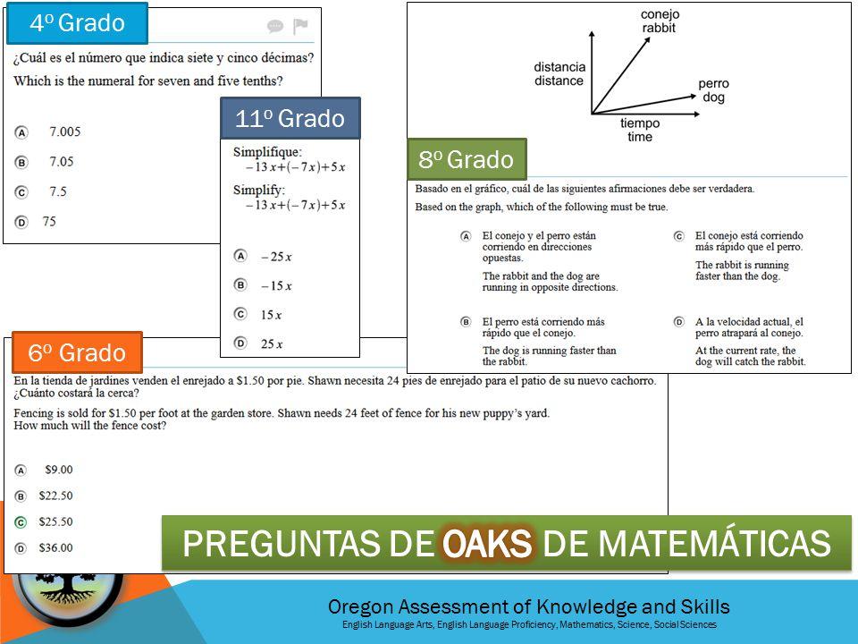 Oregon Assessment of Knowledge and Skills English Language Arts, English Language Proficiency, Mathematics, Science, Social Sciences 3 er Grado 4 o Grado