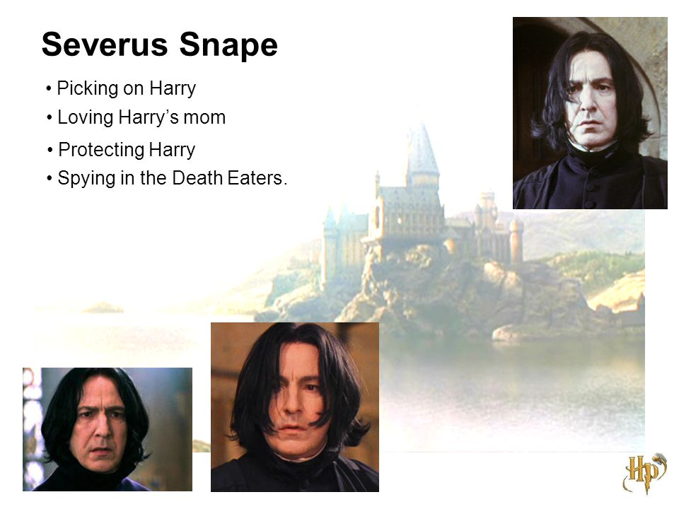 Severus Snape Picking on Harry Loving Harry's mom Protecting Harry Spying in the Death Eaters.