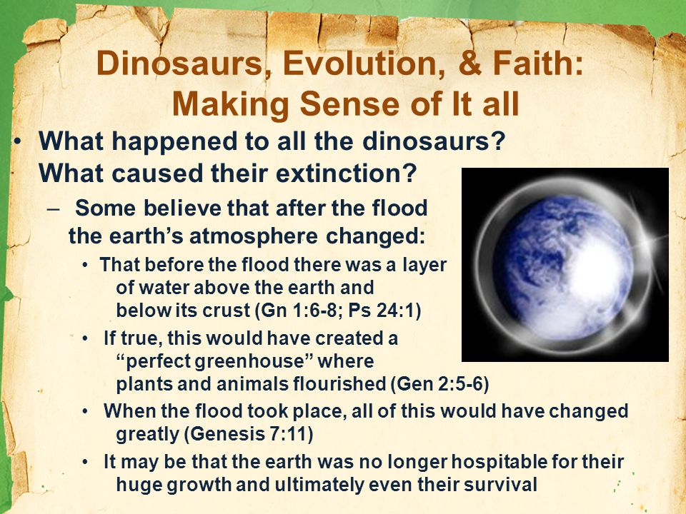 Dinosaurs, Evolution, & Faith: Making Sense of It all What happened to all the dinosaurs.
