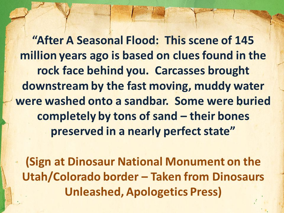 After A Seasonal Flood: This scene of 145 million years ago is based on clues found in the rock face behind you.