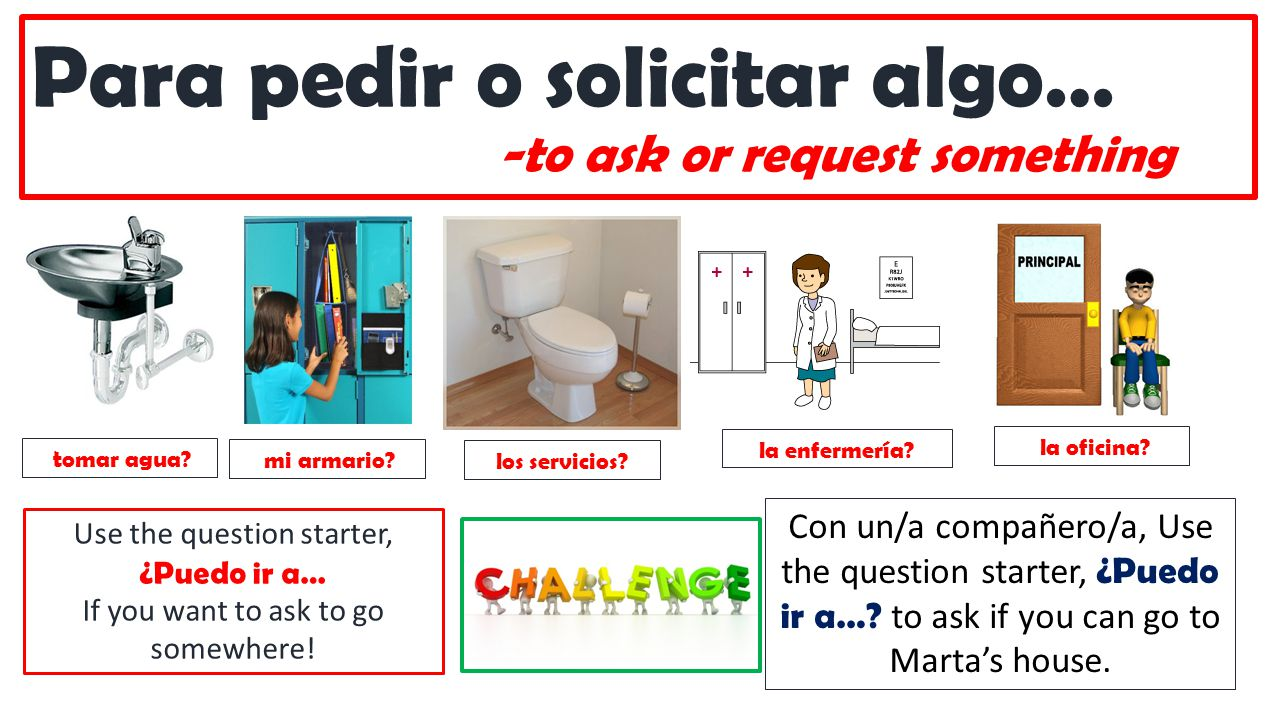 Para pedir o solicitar algo… -to ask or request something tomar agua? la oficina? la enfermería? mi armario? los servicios? Use the question starter,