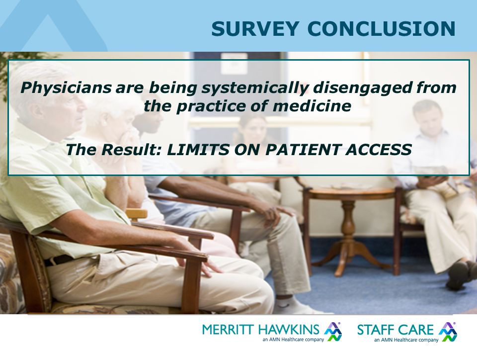 SURVEY CONCLUSION Physicians are being systemically disengaged from the practice of medicine The Result: LIMITS ON PATIENT ACCESS