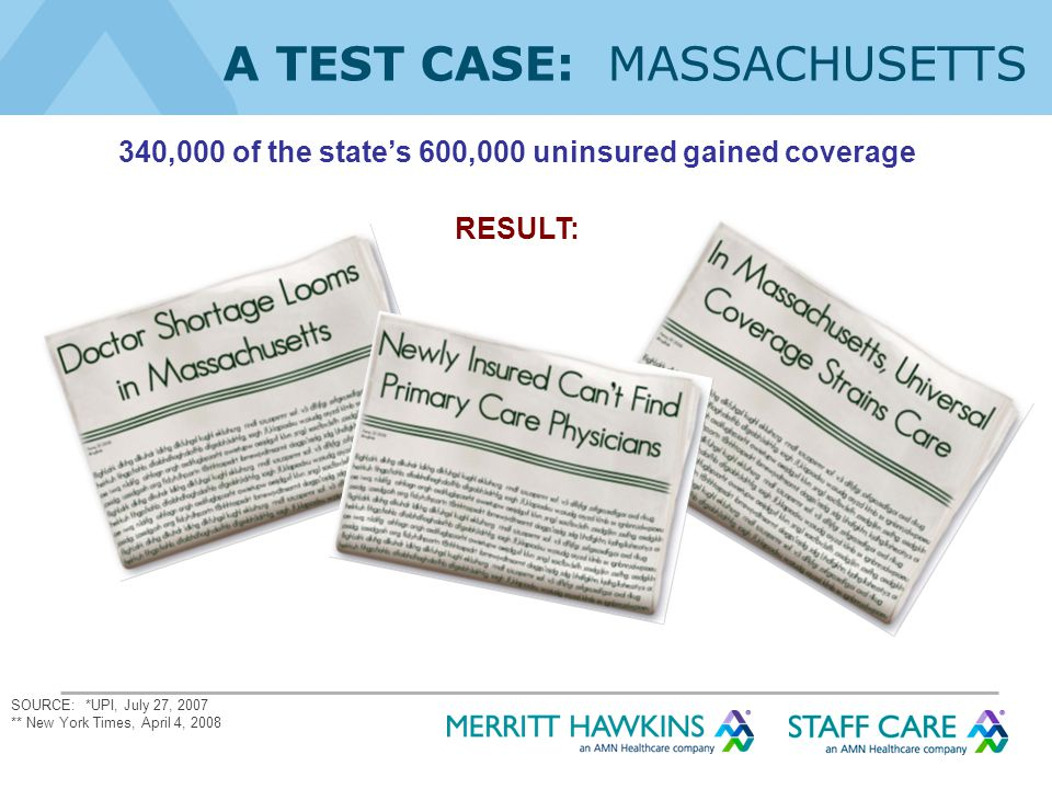 340,000 of the state's 600,000 uninsured gained coverage RESULT: SOURCE: *UPI, July 27, 2007 ** New York Times, April 4, 2008 A TEST CASE: MASSACHUSETTS
