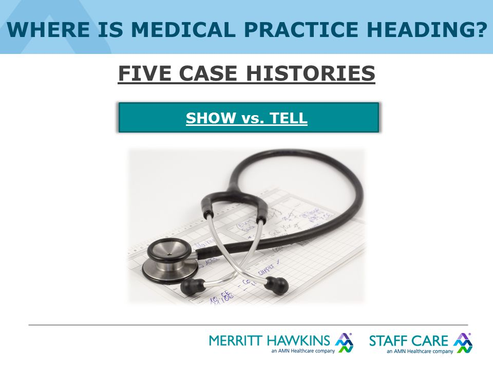 WHERE IS MEDICAL PRACTICE HEADING FIVE CASE HISTORIES SHOW vs. TELL