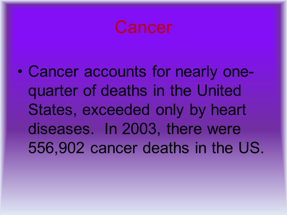 Cancer Cancer accounts for nearly one- quarter of deaths in the United States, exceeded only by heart diseases. In 2003, there were 556,902 cancer dea