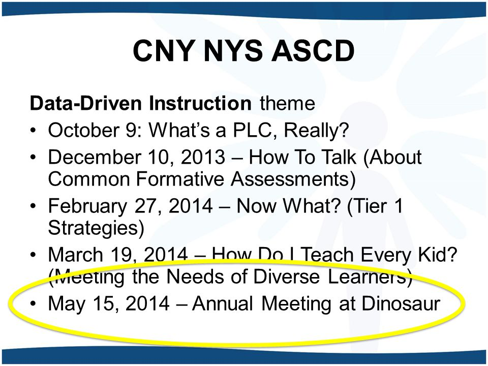 CNY NYS ASCD Data-Driven Instruction theme October 9: What's a PLC, Really.