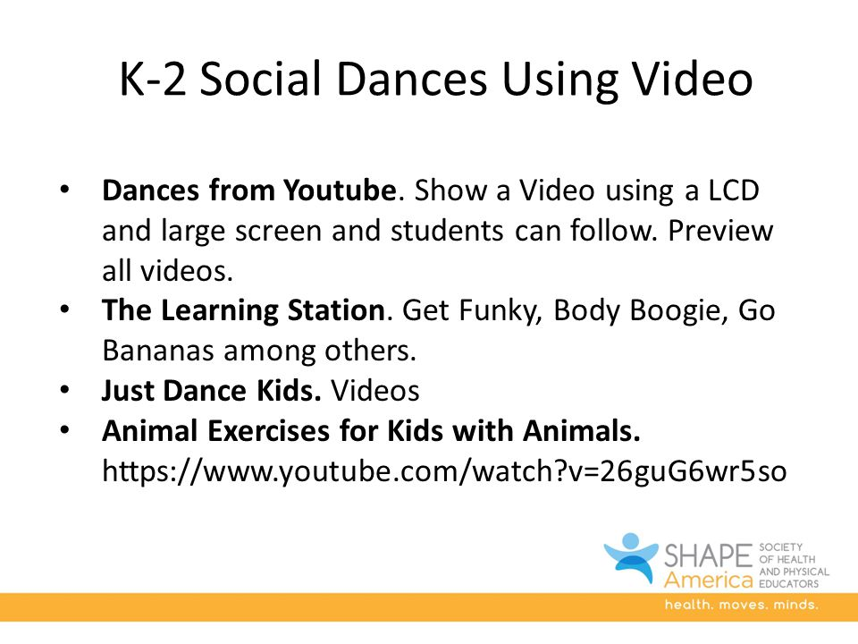 K-2 Social Dances Using Video Dances from Youtube.