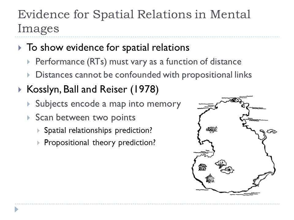 Evidence for Spatial Relations in Mental Images  To show evidence for spatial relations  Performance (RTs) must vary as a function of distance  Dis