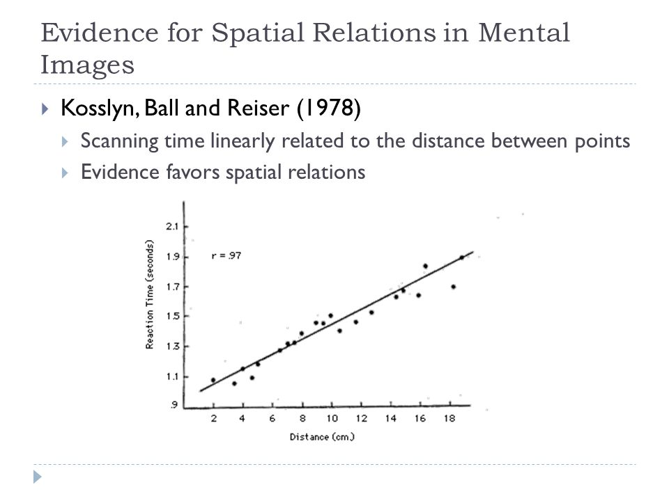 Evidence for Spatial Relations in Mental Images  Kosslyn, Ball and Reiser (1978)  Scanning time linearly related to the distance between points  Evidence favors spatial relations