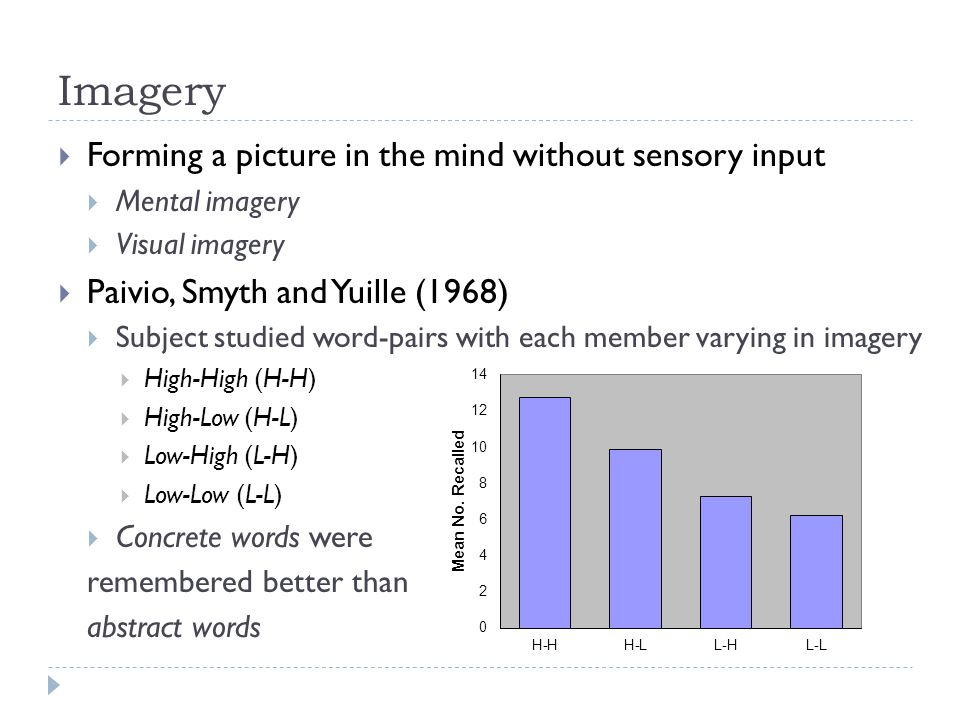 Imagery  Forming a picture in the mind without sensory input  Mental imagery  Visual imagery  Paivio, Smyth and Yuille (1968)  Subject studied word-pairs with each member varying in imagery  High-High (H-H)  High-Low (H-L)  Low-High (L-H)  Low-Low (L-L)  Concrete words were remembered better than abstract words