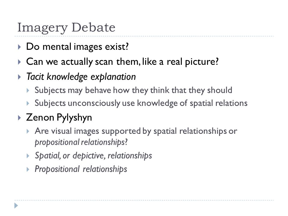 Imagery Debate  Do mental images exist?  Can we actually scan them, like a real picture?  Tacit knowledge explanation  Subjects may behave how the