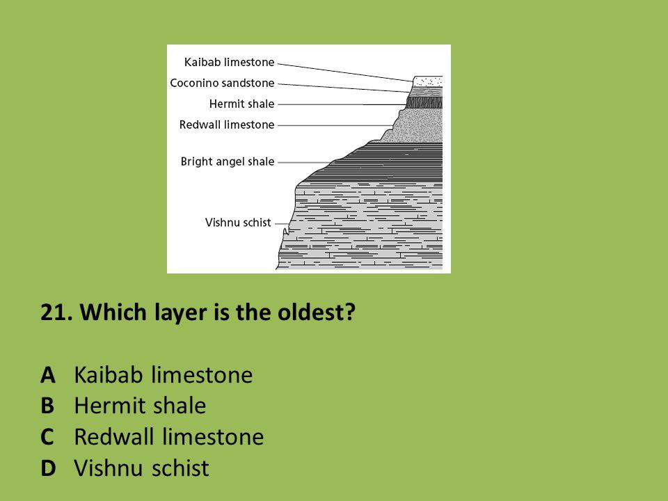 21. Which layer is the oldest? AKaibab limestone BHermit shale CRedwall limestone DVishnu schist