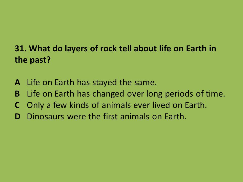 31. What do layers of rock tell about life on Earth in the past? ALife on Earth has stayed the same. BLife on Earth has changed over long periods of t