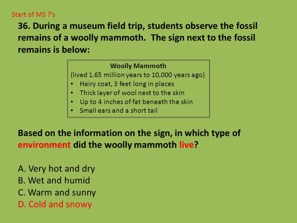 Start of MS ?'s 36. During a museum field trip, students observe the fossil remains of a woolly mammoth. The sign next to the fossil remains is below: