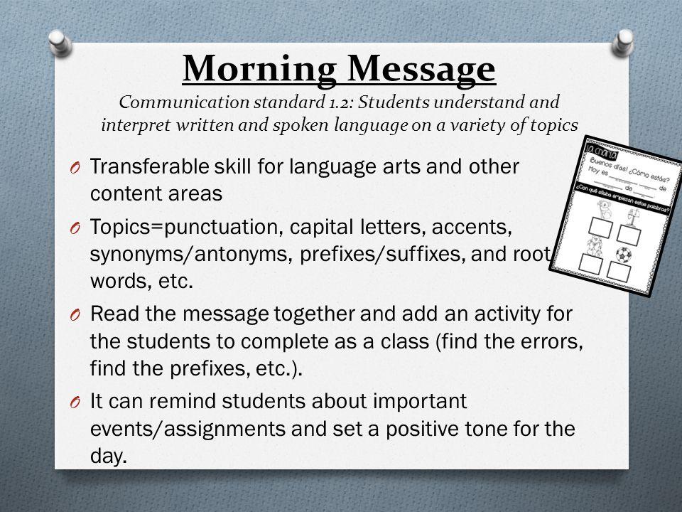 Sample Morning Message 9-14-2013 Buenas días estudiantes, Hoy vamos a hablar sobre los partes de un reunión del mañana y vamos a hacer un actividad y una saludo.