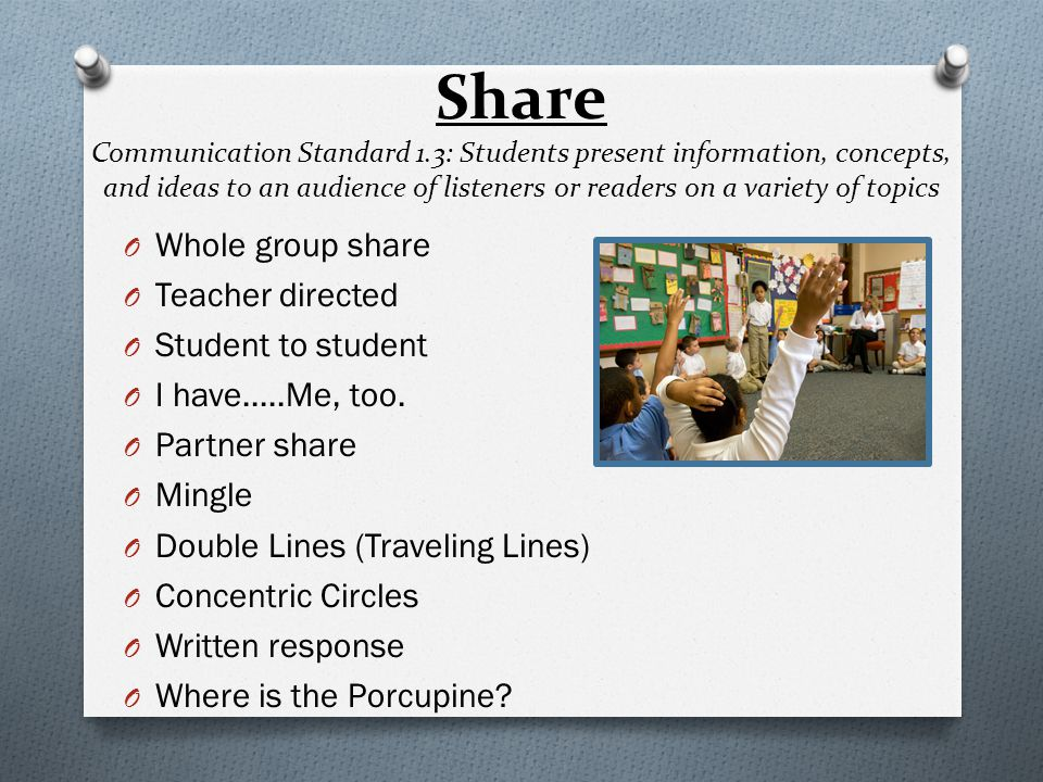 Share Communication Standard 1.3: Students present information, concepts, and ideas to an audience of listeners or readers on a variety of topics O Wh