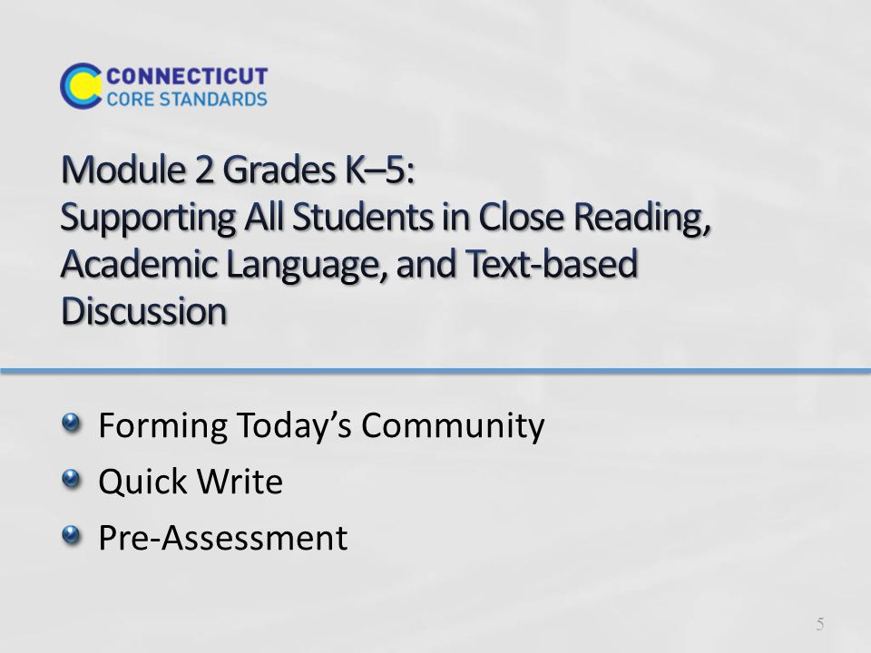 Forming Today's Community Quick Write Pre-Assessment 5