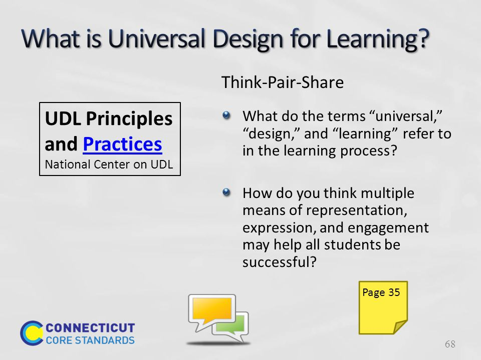 UDL Principles and Practices National Center on UDL Think-Pair-Share What do the terms universal, design, and learning refer to in the learning process.