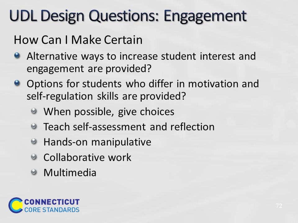 How Can I Make Certain Alternative ways to increase student interest and engagement are provided.