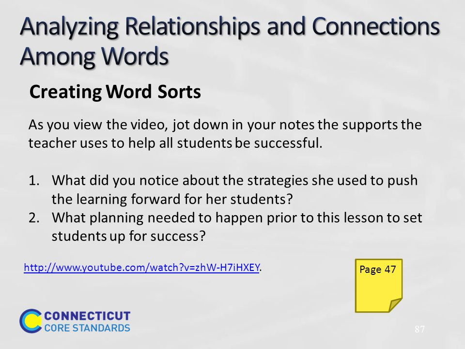 87 As you view the video, jot down in your notes the supports the teacher uses to help all students be successful.