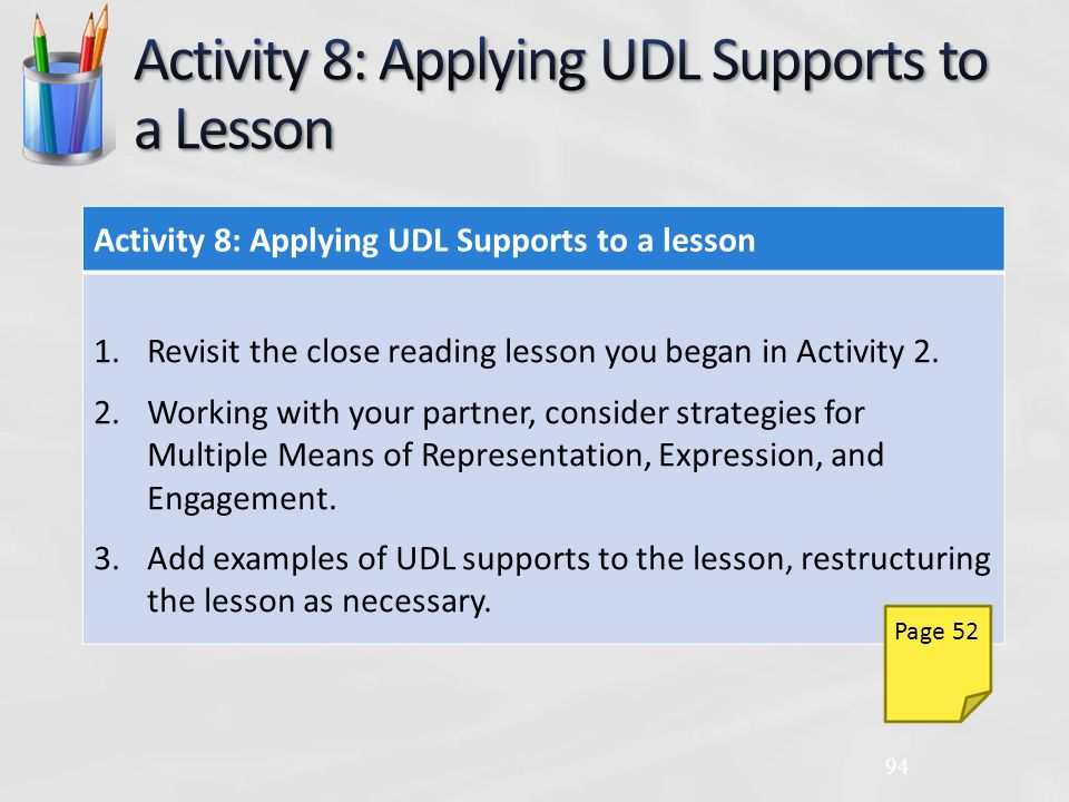 Activity 8: Applying UDL Supports to a lesson 1.Revisit the close reading lesson you began in Activity 2.