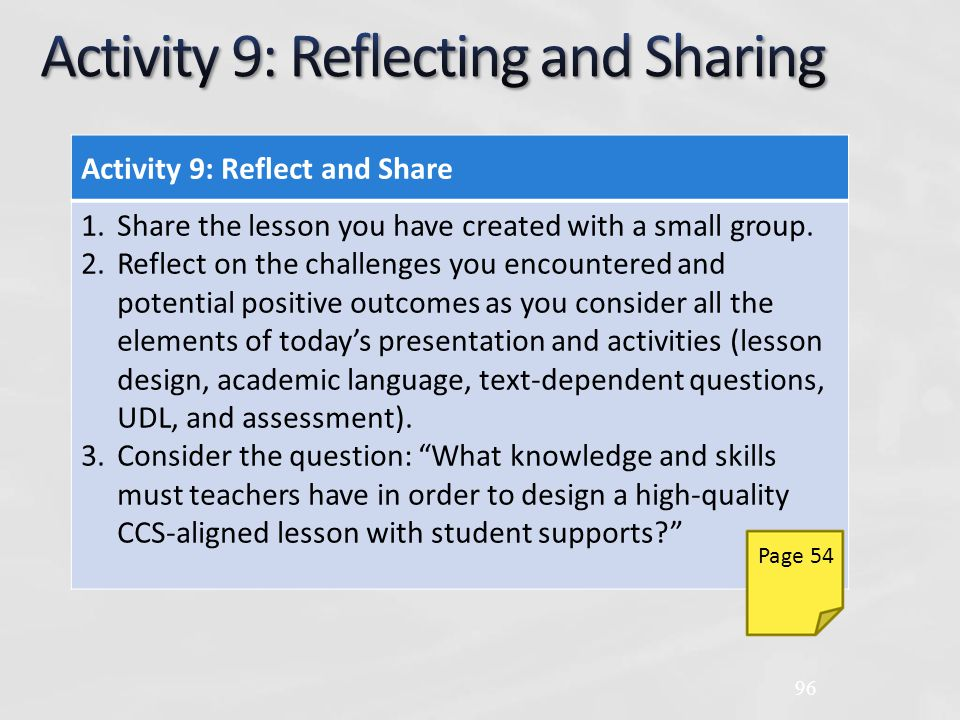 Activity 9: Reflect and Share 1.Share the lesson you have created with a small group.