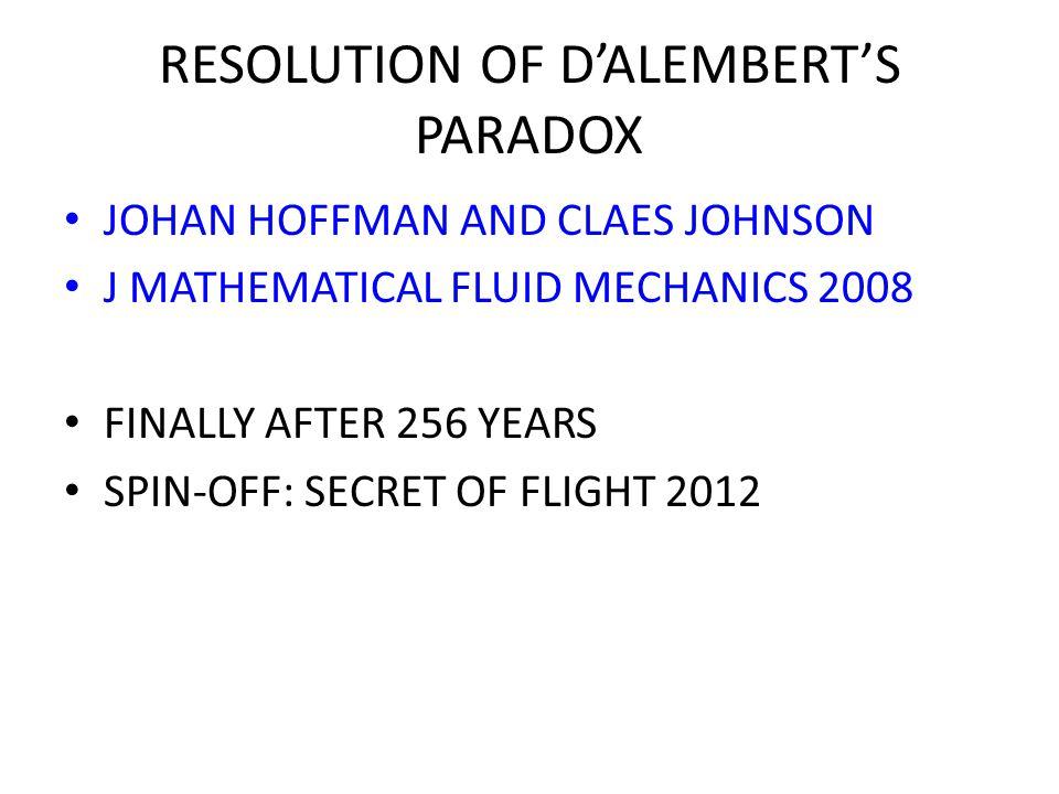 RESOLUTION OF D'ALEMBERT'S PARADOX JOHAN HOFFMAN AND CLAES JOHNSON J MATHEMATICAL FLUID MECHANICS 2008 FINALLY AFTER 256 YEARS SPIN-OFF: SECRET OF FLIGHT 2012