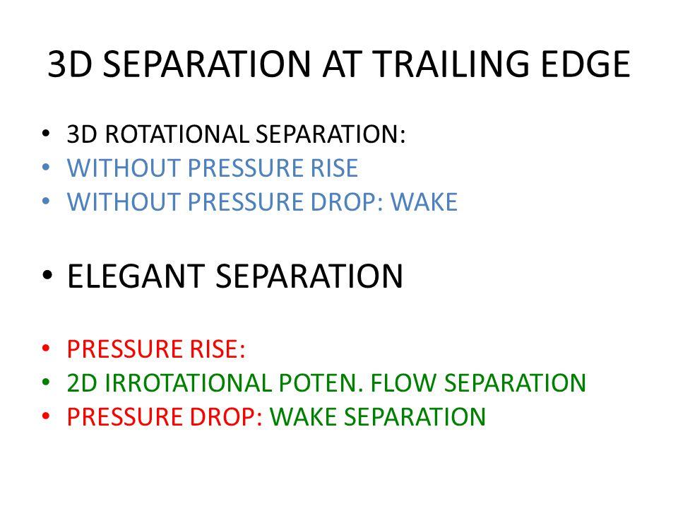 3D SEPARATION AT TRAILING EDGE 3D ROTATIONAL SEPARATION: WITHOUT PRESSURE RISE WITHOUT PRESSURE DROP: WAKE ELEGANT SEPARATION PRESSURE RISE: 2D IRROTATIONAL POTEN.