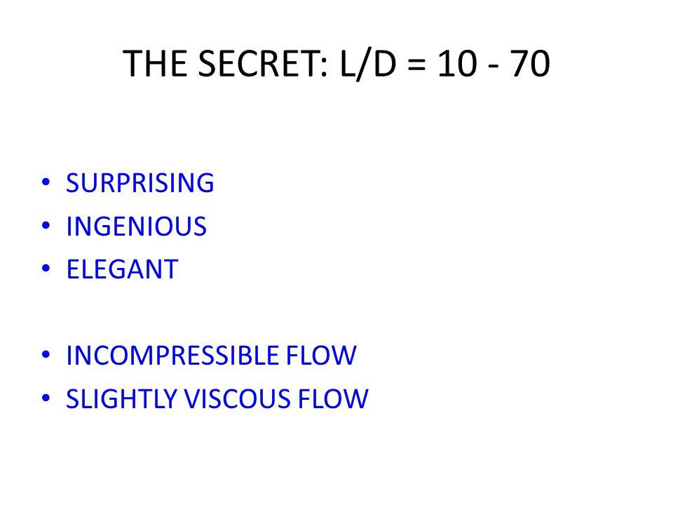 THE SECRET: L/D = 10 - 70 SURPRISING INGENIOUS ELEGANT INCOMPRESSIBLE FLOW SLIGHTLY VISCOUS FLOW